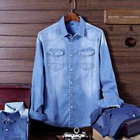 Fashion Men's Denim Jeans Shirt Casual Autumn Long Sleeve Denim Cotton Shirt