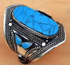 Afghan Kuchi Turquoise Bracelet Jewelry Gypsy Cuff Carved Ethnic Bohemian Tribal