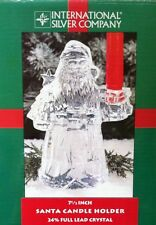 Vintage Holiday Christmas 24% Lead Crystal Santa Clause Taper Candle Holder