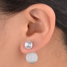 Beauty Crystal Eardrop Double Sided Disco Ball Earrings Ear Stud Plug Pin