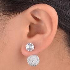 Beauty Crystal Eardrop Double Sided Disco Ball Earrings Ear Stud Plug Pin