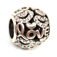 Brighton Full of Love Bead, JC0922, Silver Finish with Crystals,  New