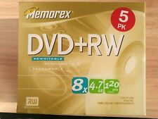 25PK Memorex DVD+RW 4.7GB 8X Rewritable Disc: Reliable Data Back Up, PC Compatib