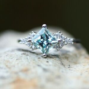 Princess Cut Light Blue Moissanite Engagement Ring Sterling Silver Size 6