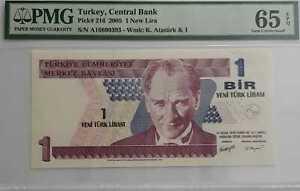 PMG 65 GEM EPQ TURKEY 1 New Lira Bank Note(+1 B/note) #D9286
