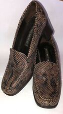 New listing Sesto Meucci Brown Leather Snakeskin Reptile Slip On Chunky Heel Loafers sz 36.5