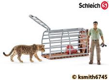 Schleich JAGUAR, TRAP & RANGER SET plastic toy wild zoo animal figure cat NEW 💥