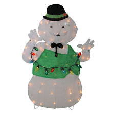 """33"""" Pre-Lit White and Green Snowman Christmas Outdoor Decor"""