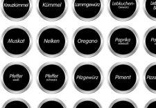 70 schwarze runde Gewürzetiketten, Aufkleber, Etiketten, Gewürze, weiße Schrift
