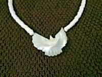 Vintage Carved Mother of Pearl PHOENIX Bird Pendant Puka Shell Necklace 18 inch