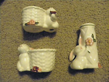 Avon Ceramic Bunny Taper Candle Holders (2) & Small Bud Vase Easter