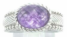 Judith Ripka  925 Sterling Silver Purple Amethyst Bead Rope Ring Size 5
