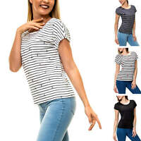 Only Damen T-Shirt Lace-Up Jersey Shirt Damenshirt Kurzarmshirt Sommershirt Top