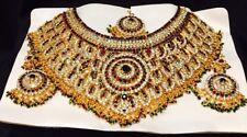 Bollywood Indian Bridal Necklace Earrings Tikka Jewellery Gold Maroon Green B11