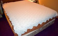 Vintage Bed Spread Comforter Hand Crocheted  Popcorn Twin Cream Beige