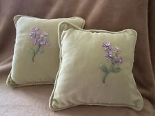 """New 2 light green with purple flowers decorative floral cushions pillows 9"""" x 9"""""""