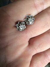 14K White Gold  .25 CTW Buttercup Flower Diamond Stud Earrings Screw Backs