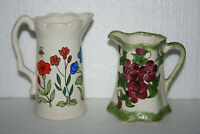 Lot 2 Colorful Floral Small Hand Painted/Decorated Art Pottery Creamer Pitchers