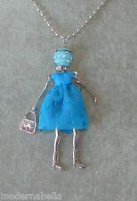 Bambola Collana vestito paillettes pelle,perle,Donna,bambolina blu,catena argent
