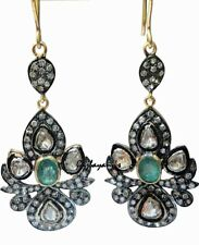 Diamond Gold Silver Dangle Earring Scintillating Handcrafted Emerald & Rose Cut