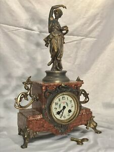 1855 VINTAGE ANTIQUE FRENCH KEY WOUND STRIKING CLOCK WITH RED MARBLE CASE
