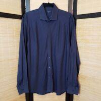 Ted Baker Men's Sz 6 (XL) Navy Blue Collared Button Down 100% Cotton Dress Shirt