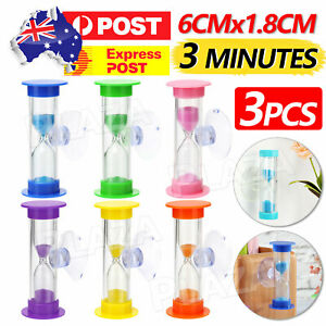 3x Sandglass Hourglass for Tooth Brushing Shower Timer Suction Cup Count Down AU
