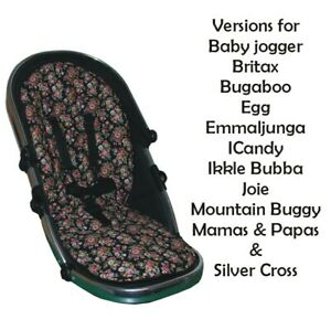 Hand Tailored Black Roses Padded Seat Liners - Select your model of pushchair