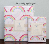 NEW Pottery Barn Kids ORGANIC RAINBOW Twin Duvet Cover+Std Case Set WHITE *GIRLS