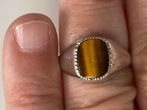 Mens Gents Large Solid Sterling Silver Signet Ring Tigers Eye