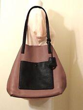 Michael Michael Kors Colgate XL Pebbled Dusty Rose Black Leather Grab Bag
