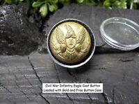 Old Rare Vintage Antique Civil War Relic Eagle Infantry Coat Button Loaded Gold