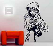 Candy Sugar Skull Graffiti Girl Tattoo Decor Vinyl Wall Sticker Decal Rockabilly