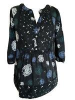 Laura Ashley Black Floral Blouse Botanical Boho Cotton Top 3/4 Sleeves Size 8