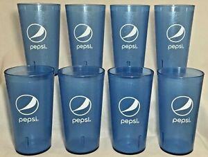 Impact 8 Restaurant Pepsi Cola Globe Transparent Blue Plastic Tumblers Cups 32oz