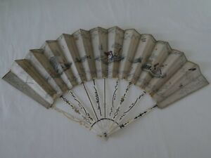 """Antique 1790 Painted Hand Fan by JOHANNES SULZER """"Nightingale"""" Signed"""