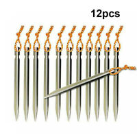 12x Titanium Alloy Tent Nail Pegs Stakes With Rope Lightweight Camping Outdoor