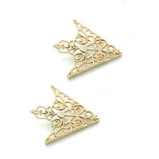 2Pcs Punk Vintage Alloy Hollow Triangle Shirt Collar Pin Brooch Gift Gold