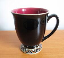 "Denby Batik Mug Black Red Mosaic 4 1/4"" Footed 1990s Stoneware England"