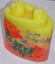 """Traumhaft schöne zwei-Docht-Kerze """" Zum 45. Geburtstag"""" *handbemalt"""