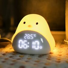 Cartoon Cute  Night Light Alarm Time Chick Clock Silicone Touch USB LED Night