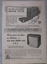 1949 English Electric Egnition tester & K.-L. Monitor Original advert