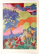 1971 DIANNE N TULLIS Abstract Flowers Van Gogh color Landscape LITHO #309T