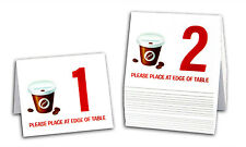 """Plastic Table Numbers 1-20 """"Coffee Cup & Beans"""" Tent Style, Free shipping"""