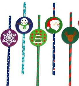 25 CHRISTMAS PAPER RETRO PARTY BIODEGRADABLE DRINKING STRAWS  - with Tags