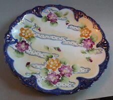 "CATz OLD JAPANESE PORCELAIN HANDPAINTED PLATE, floral 9 1/2"""