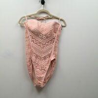 Robin Piccone Womens Mia One Piece Swimsuit Beige Halter Crochet Stretch 12 New