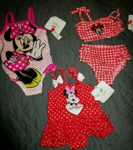 3 NEW NWT DISNEY BABY GIRLS 3-6 MONTHS MINNIE MOUSE RED PINK ONEPIECE SWIM SUIT