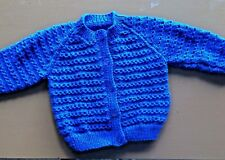 Hand Knitted Cardigan in Royal Blue. 2 year old boy.