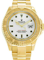 Rolex Yacht-Master 18k Yellow Gold White Dial  Mens Watch Box A 16628